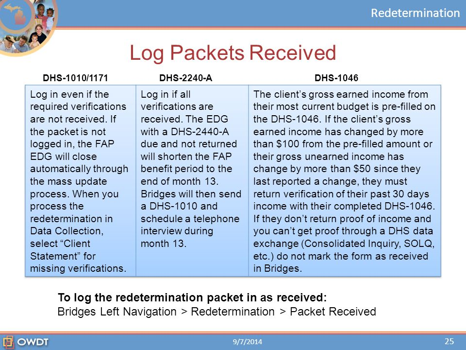 Redetermination Log Packets Received DHS-1010/1171DHS-2240-ADHS-1046 To log the redetermination packet in as received: Bridges Left Navigation > Redet