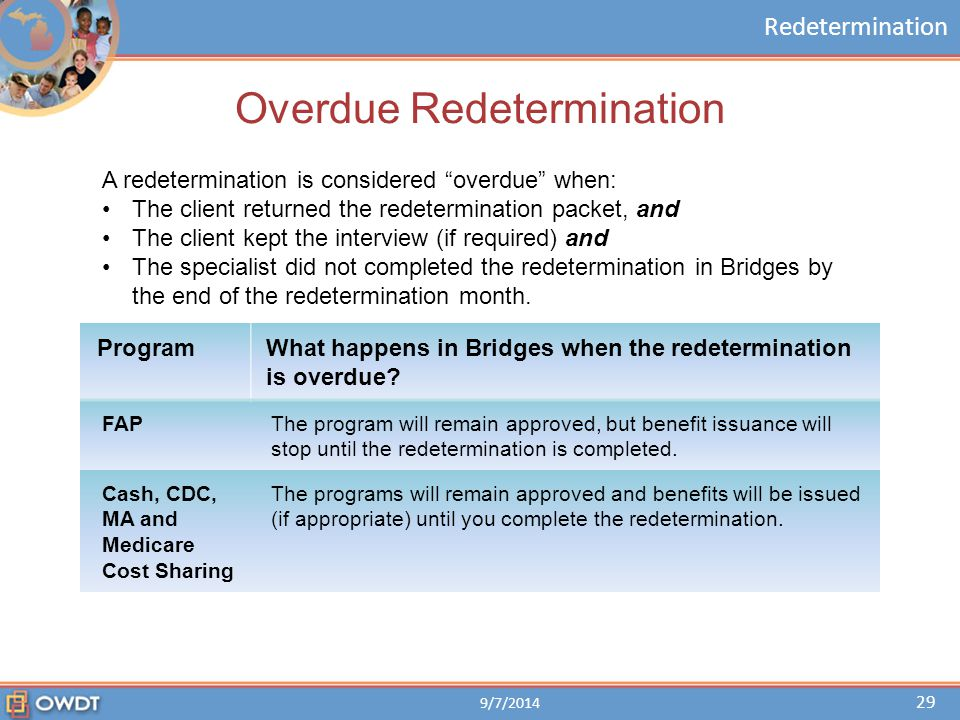 "Redetermination Overdue Redetermination A redetermination is considered ""overdue"" when: The client returned the redetermination packet, and The client"