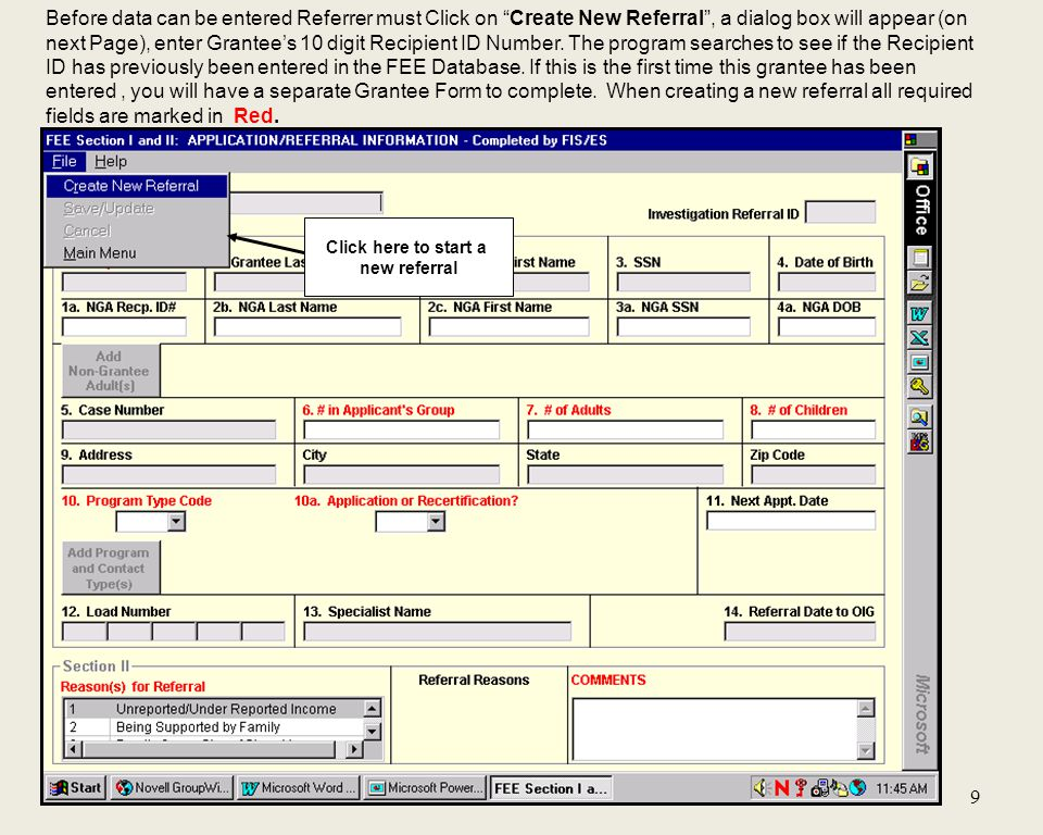 Case Assignments cont'd Section III: #1. Received by OIG? click box and current date will populate field.