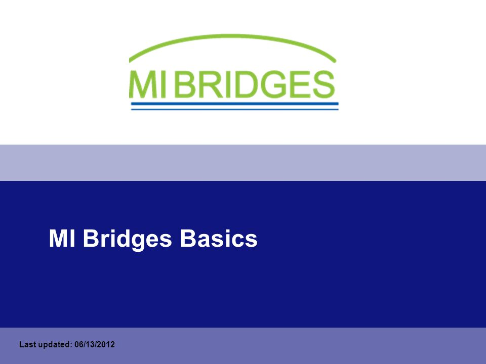 MI Bridges Basics Last updated: 06/13/2012