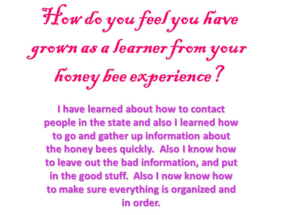 How do you feel you have grown as a learner from your honey bee experience? I have learned about how to contact people in the state and also I learned