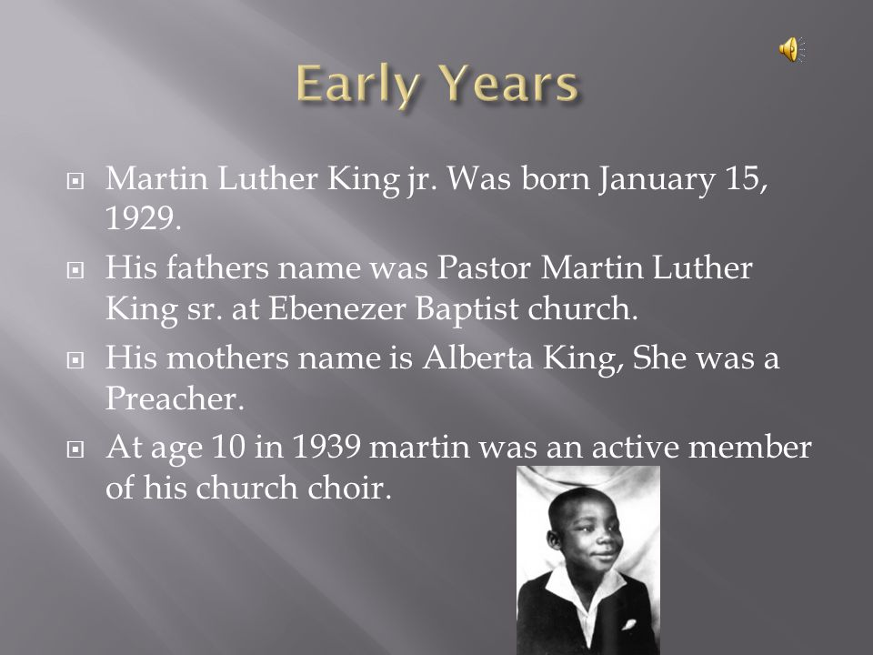  In 1944 Martin was accepted More House University.