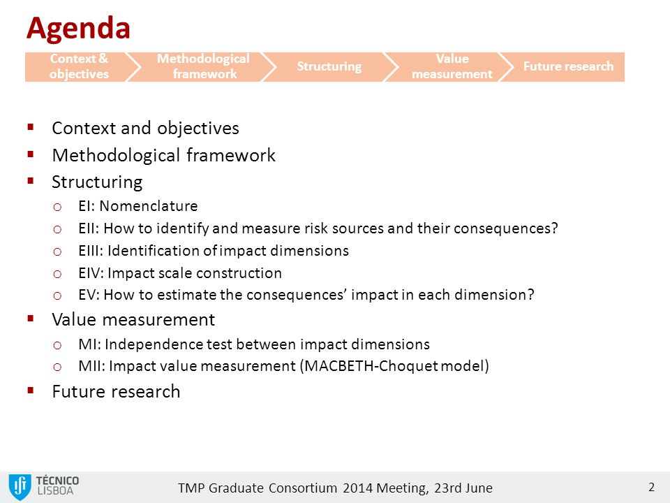 TMP Graduate Consortium 2014 Meeting, 23rd June 2 Agenda  Context and objectives  Methodological framework  Structuring o EI: Nomenclature o EII: How to identify and measure risk sources and their consequences.