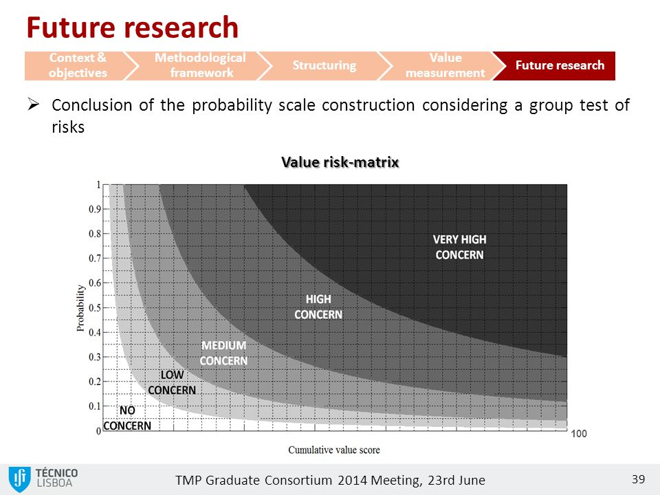TMP Graduate Consortium 2014 Meeting, 23rd June 39 100  Conclusion of the probability scale construction considering a group test of risks Value risk
