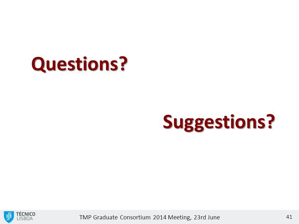 TMP Graduate Consortium 2014 Meeting, 23rd June 41 Questions? Suggestions?