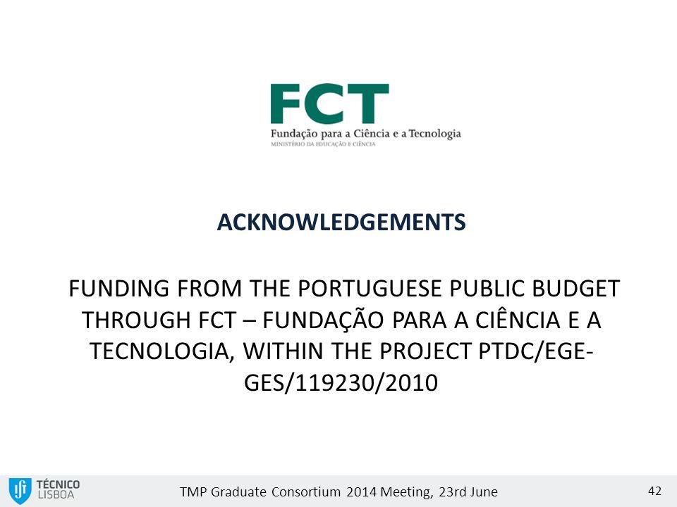 TMP Graduate Consortium 2014 Meeting, 23rd June 42 FUNDING FROM THE PORTUGUESE PUBLIC BUDGET THROUGH FCT – FUNDAÇÃO PARA A CIÊNCIA E A TECNOLOGIA, WITHIN THE PROJECT PTDC/EGE- GES/119230/2010 ACKNOWLEDGEMENTS