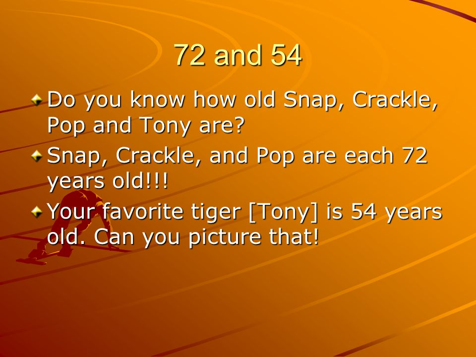 72 and 54 Do you know how old Snap, Crackle, Pop and Tony are? Snap, Crackle, and Pop are each 72 years old!!! Your favorite tiger [Tony] is 54 years