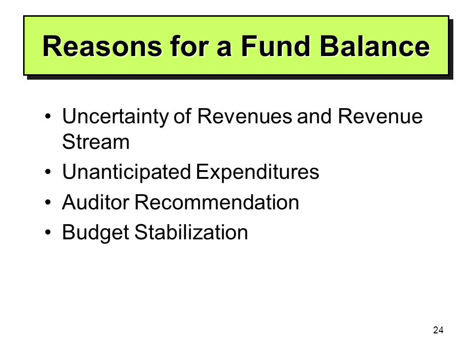 24 Reasons for a Fund Balance Uncertainty of Revenues and Revenue Stream Unanticipated Expenditures Auditor Recommendation Budget Stabilization