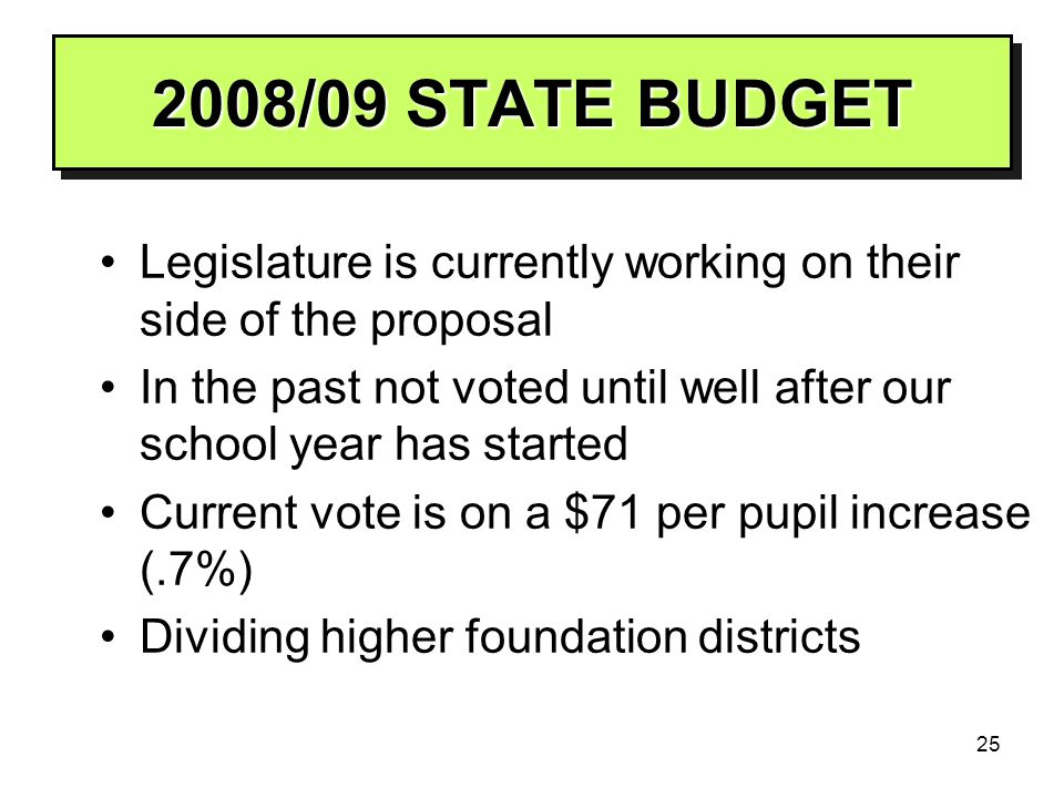 25 2008/09 STATE BUDGET Legislature is currently working on their side of the proposal In the past not voted until well after our school year has star