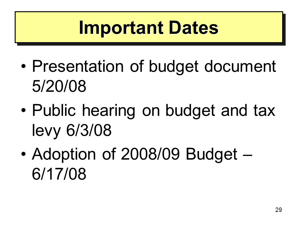 29 Important Dates Presentation of budget document 5/20/08 Public hearing on budget and tax levy 6/3/08 Adoption of 2008/09 Budget – 6/17/08