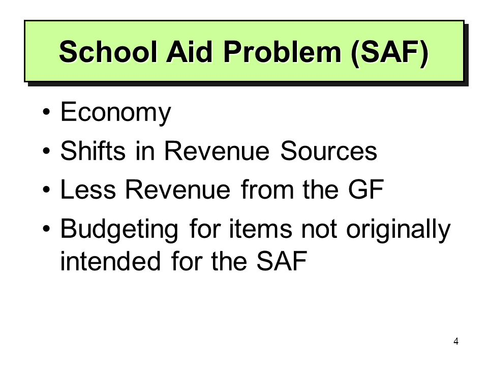 4 School Aid Problem (SAF) School Aid Problem (SAF) Economy Shifts in Revenue Sources Less Revenue from the GF Budgeting for items not originally intended for the SAF