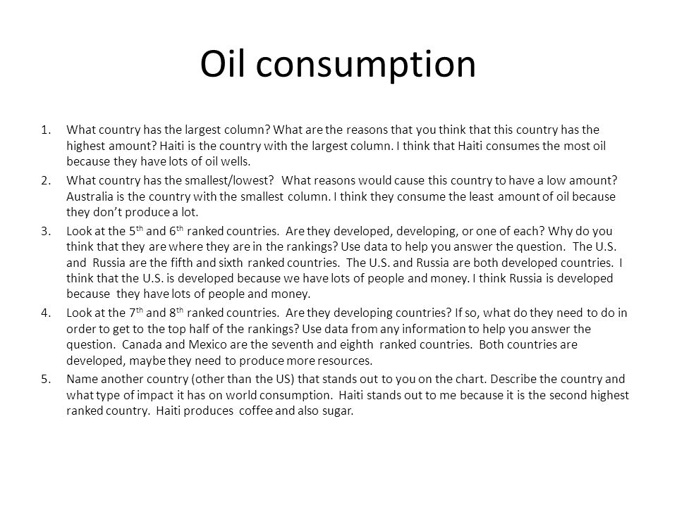 Oil consumption 1.What country has the largest column? What are the reasons that you think that this country has the highest amount? Haiti is the coun