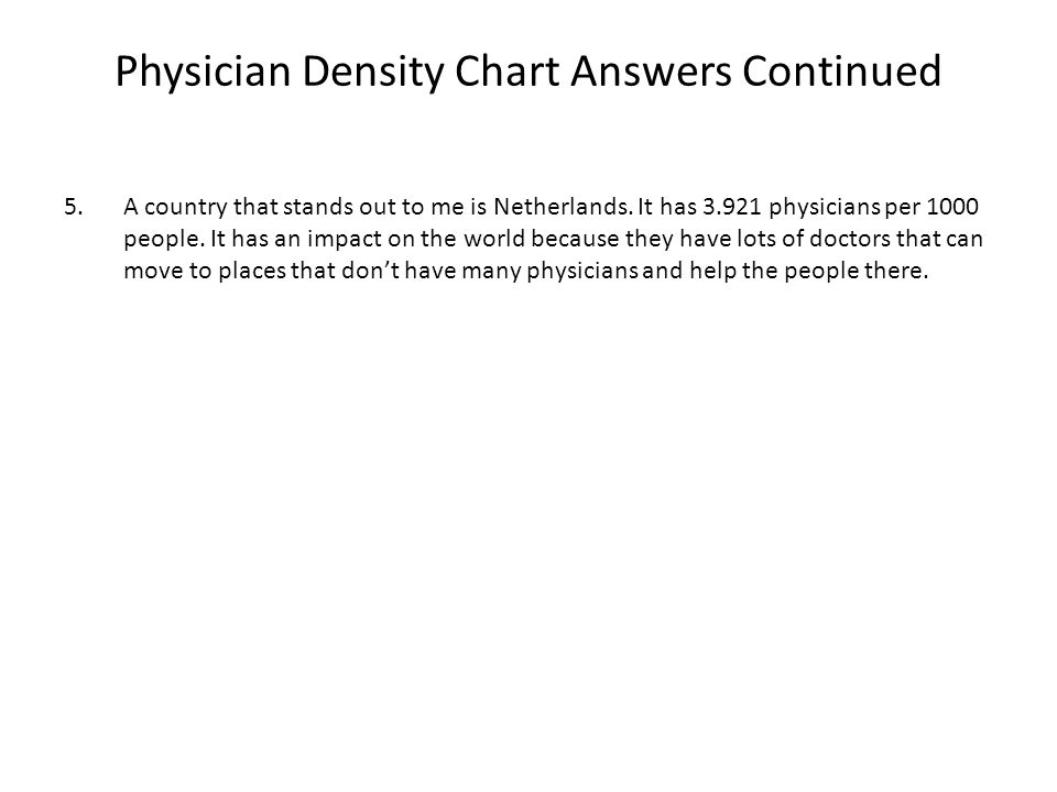 Physician Density Chart Answers Continued 5.A country that stands out to me is Netherlands.