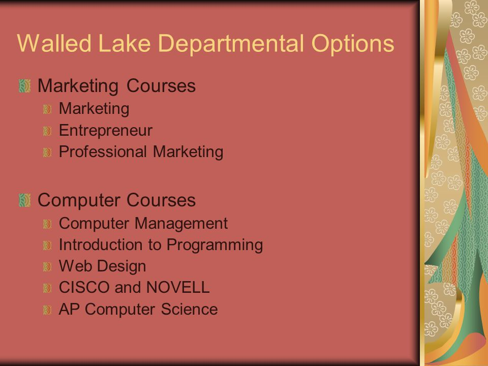 Walled Lake Departmental Options Marketing Courses Marketing Entrepreneur Professional Marketing Computer Courses Computer Management Introduction to Programming Web Design CISCO and NOVELL AP Computer Science