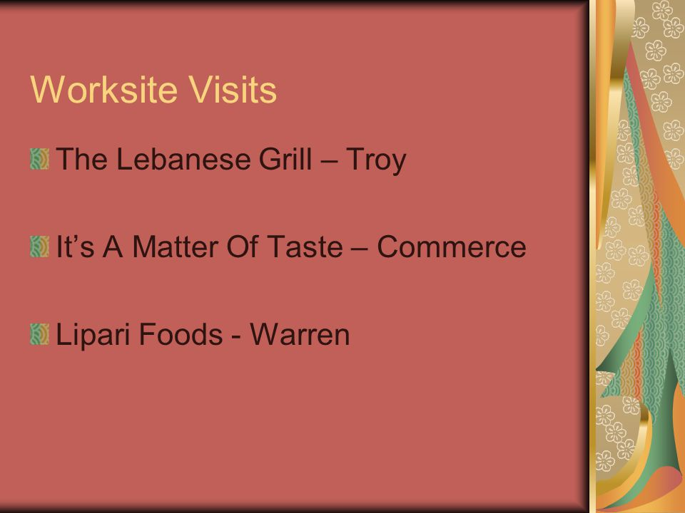 Worksite Visits The Lebanese Grill – Troy It's A Matter Of Taste – Commerce Lipari Foods - Warren