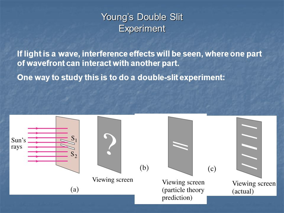 If light is a wave, interference effects will be seen, where one part of wavefront can interact with another part.