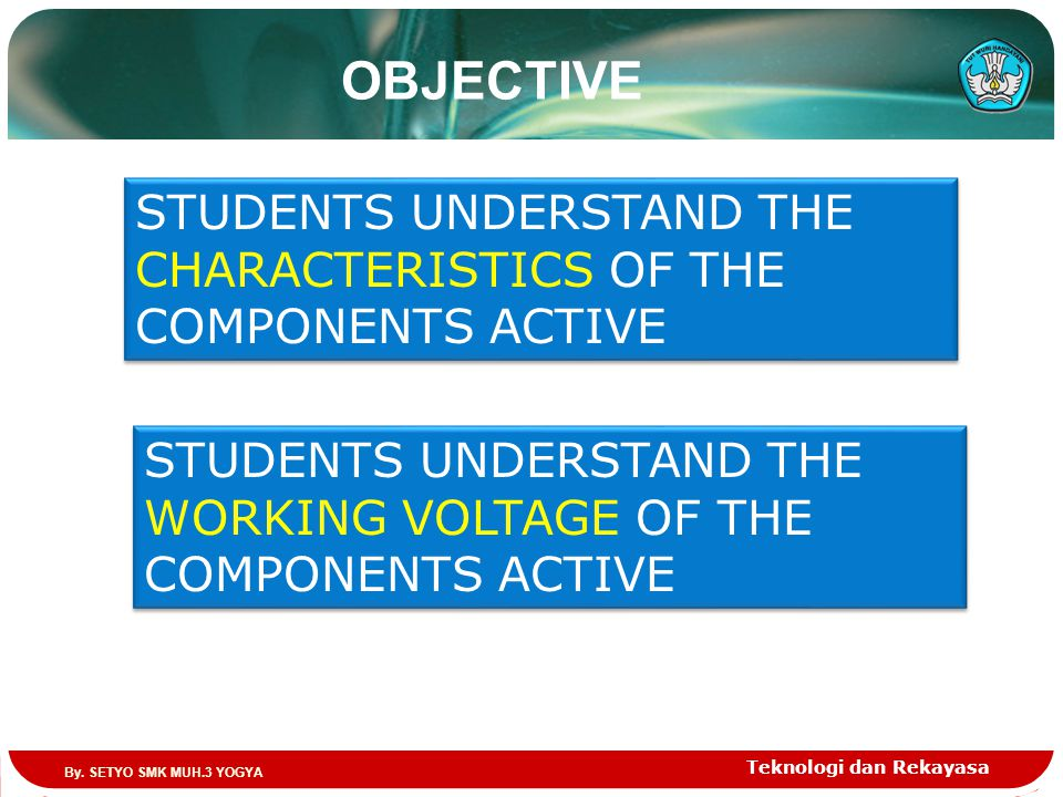 Teknologi dan Rekayasa OBJECTIVE STUDENTS UNDERSTAND THE CHARACTERISTICS OF THE COMPONENTS ACTIVE STUDENTS UNDERSTAND THE WORKING VOLTAGE OF THE COMPONENTS ACTIVE By.