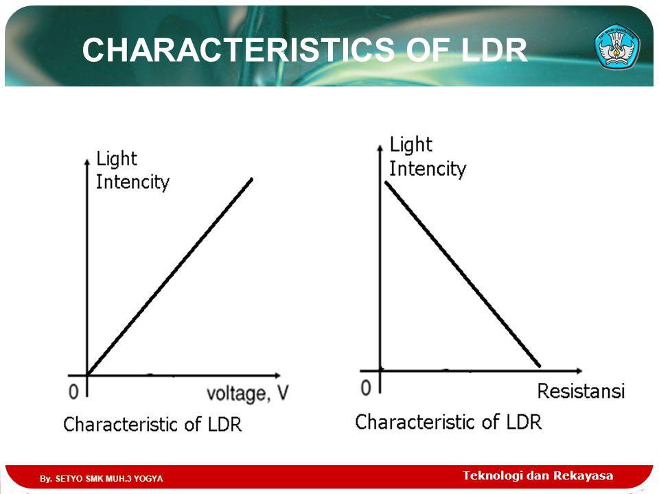 CHARACTERISTICS OF LDR Teknologi dan Rekayasa By. SETYO SMK MUH.3 YOGYA