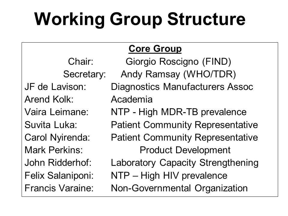 Working Group Structure Core Group Chair: Giorgio Roscigno (FIND) Secretary:Andy Ramsay (WHO/TDR) JF de Lavison:Diagnostics Manufacturers Assoc Arend Kolk: Academia Vaira Leimane:NTP - High MDR-TB prevalence Suvita Luka:Patient Community Representative Carol Nyirenda:Patient Community Representative Mark Perkins:Product Development John Ridderhof:Laboratory Capacity Strengthening Felix Salaniponi:NTP – High HIV prevalence Francis Varaine:Non-Governmental Organization Core Group Chair: Giorgio Roscigno (FIND) Secretary:Andy Ramsay (WHO/TDR) JF de Lavison:Diagnostics Manufacturers Assoc Arend Kolk: Academia Vaira Leimane:NTP - High MDR-TB prevalence Suvita Luka:Patient Community Representative Carol Nyirenda:Patient Community Representative Mark Perkins:Product Development John Ridderhof:Laboratory Capacity Strengthening Felix Salaniponi:NTP – High HIV prevalence Francis Varaine:Non-Governmental Organization