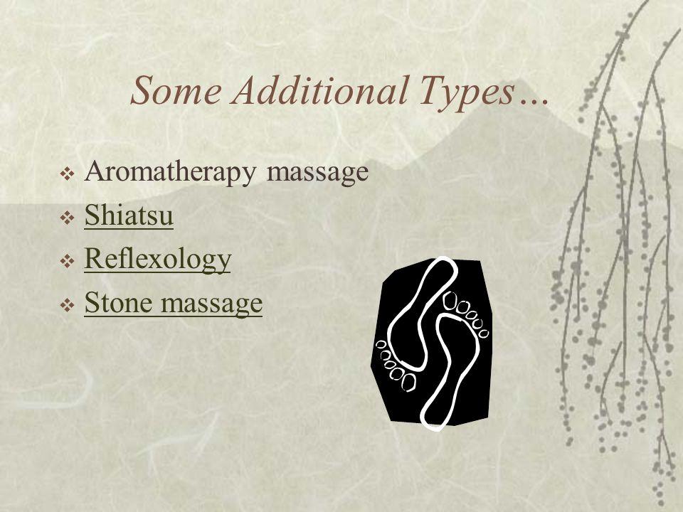 Some Additional Types…  Aromatherapy massage  Shiatsu Shiatsu  Reflexology Reflexology  Stone massage Stone massage