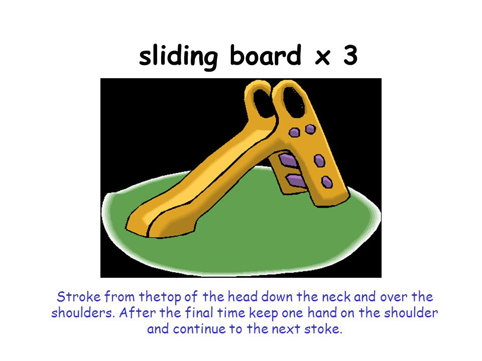 sliding board x 3 Stroke from thetop of the head down the neck and over the shoulders.