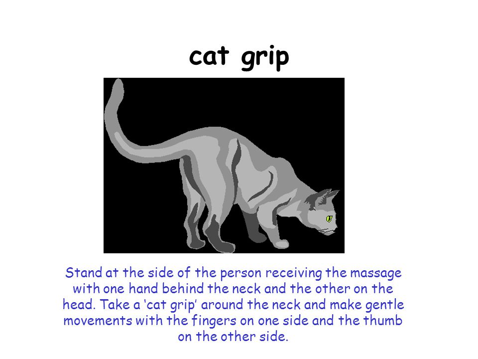 cat grip Stand at the side of the person receiving the massage with one hand behind the neck and the other on the head.