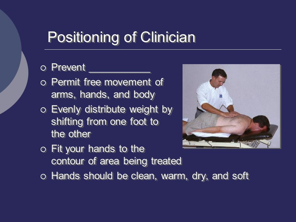 Positioning of Clinician  Prevent ___________  Permit free movement of arms, hands, and body  Evenly distribute weight by shifting from one foot to