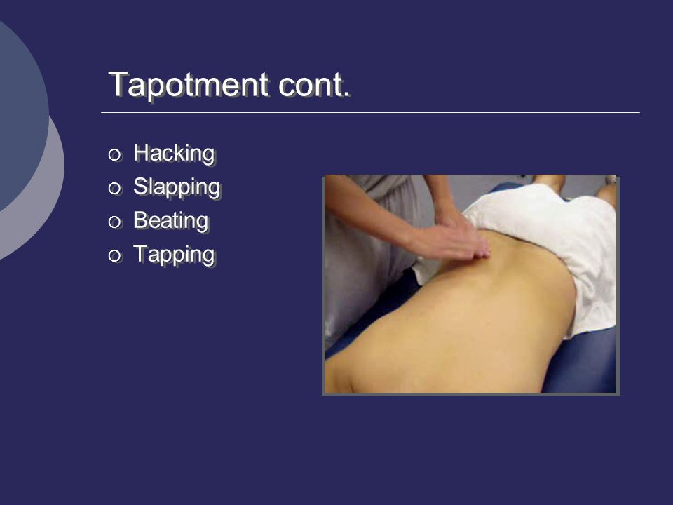 Tapotment cont.  Hacking  Slapping  Beating  Tapping  Hacking  Slapping  Beating  Tapping