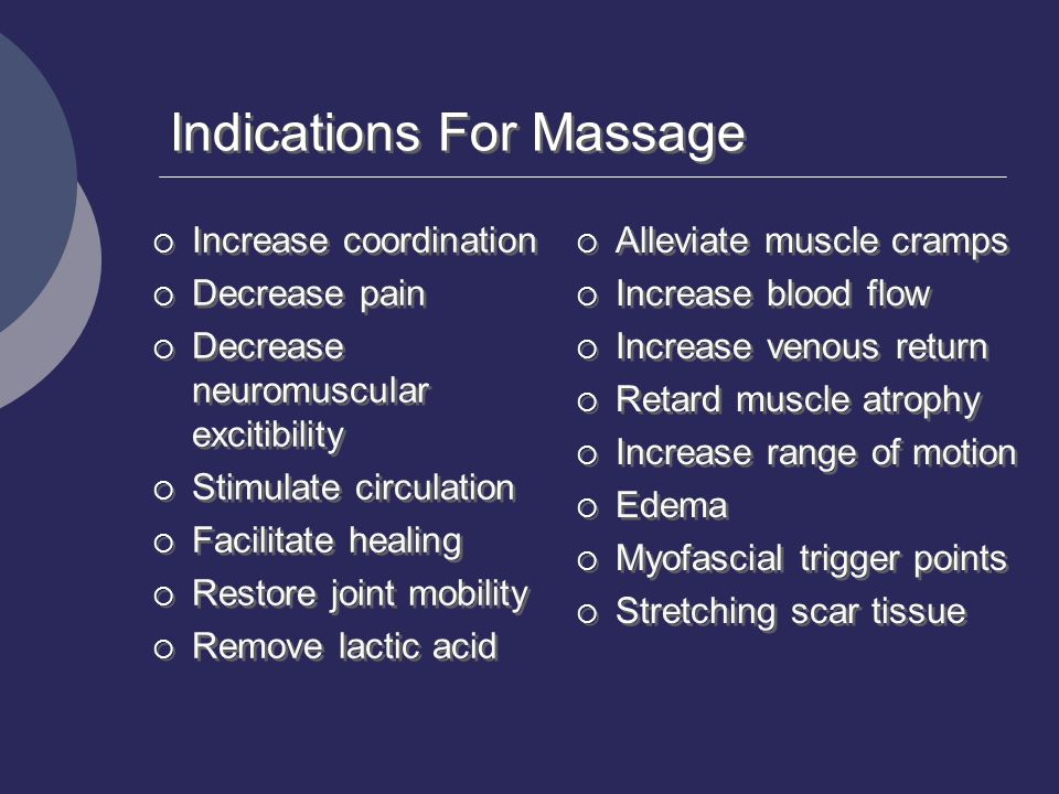 Indications For Massage  Increase coordination  Decrease pain  Decrease neuromuscular excitibility  Stimulate circulation  Facilitate healing  R