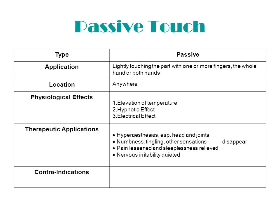 Pressure Touch TypePressure Application Making light or heavy pressure with the whole of one or both hands or with one or more fingers Location Head, joint, some swollen or irritated part or any portion of the body Physiological Effects Diminish swelling an congestion (thus pain) by emptying blood vessels and benumbing nerves Therapeutic Applications  Relieve pain  Lessens headache  Relieves toothache Contra-Indications