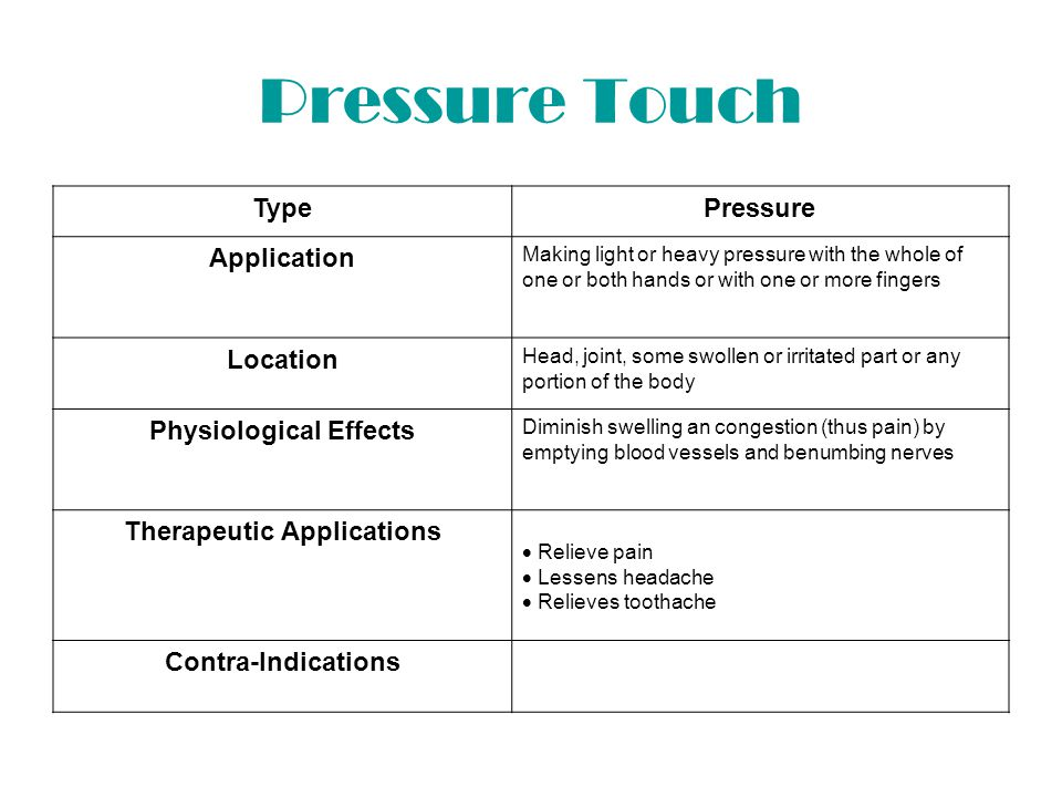 Nerve Compression TypeNerve Compression Application Strong pressure made upon a nerve trunk at some point in its course Location Motor points – on surface where large trunks are readily accessible.