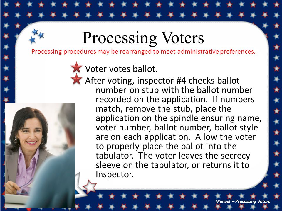 Processing Voters Processing procedures may be rearranged to meet administrative preferences.