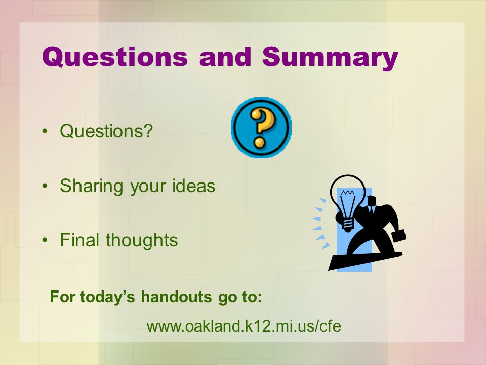 Questions and Summary Questions.