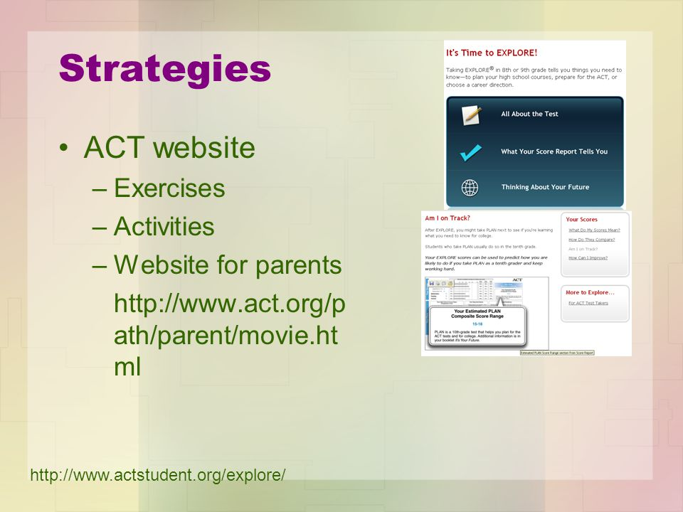 Strategies Students: –What do you know –What are you ready to learn next –To meet you educational and career goals