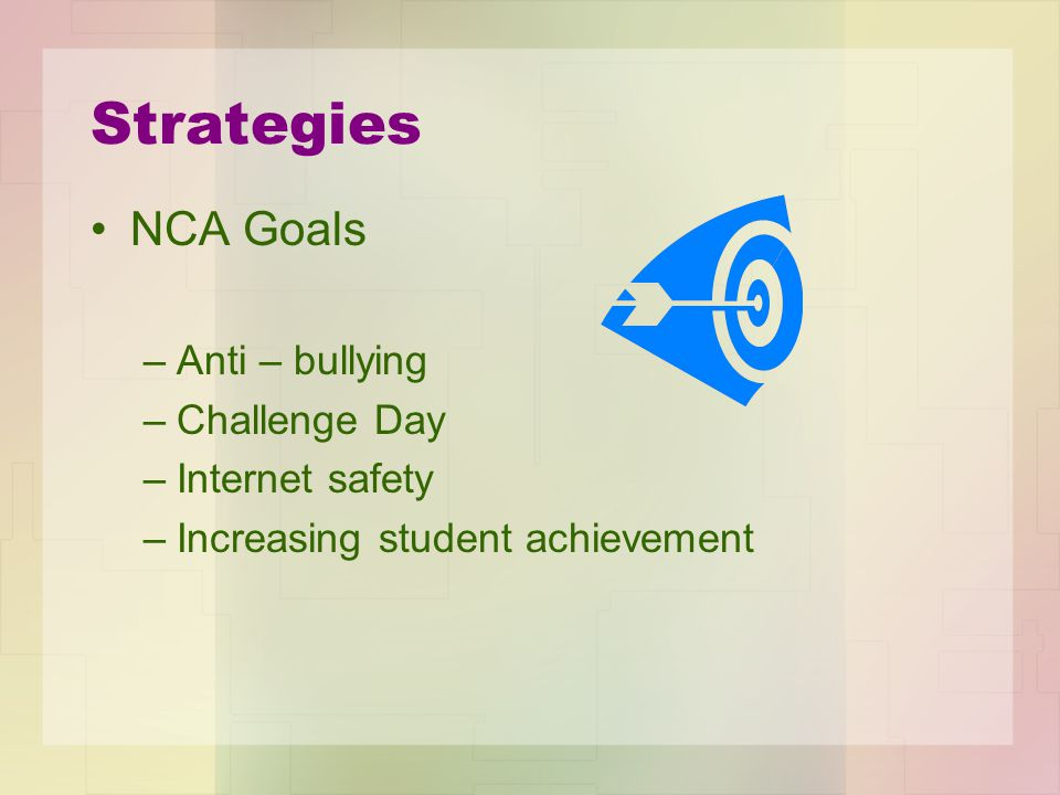 Strategies NCA Goals –Anti – bullying –Challenge Day –Internet safety –Increasing student achievement