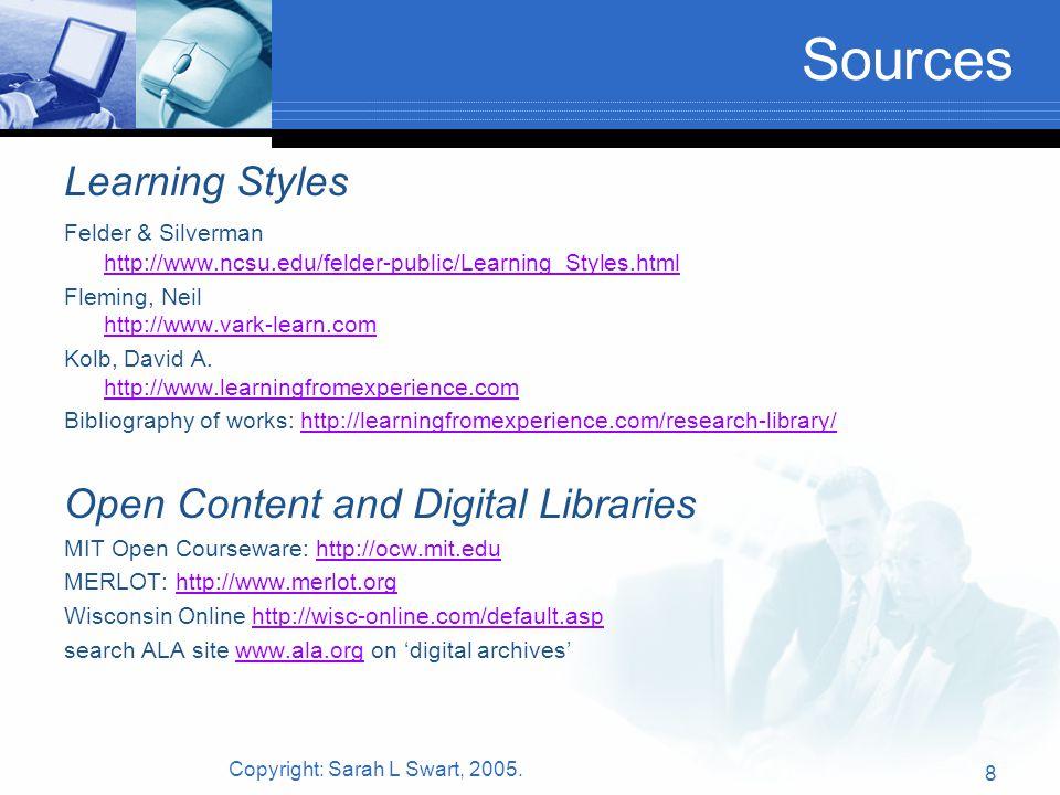 Copyright: Sarah L Swart, 2005. 8 Sources Learning Styles Felder & Silverman http://www.ncsu.edu/felder-public/Learning_Styles.html http://www.ncsu.ed