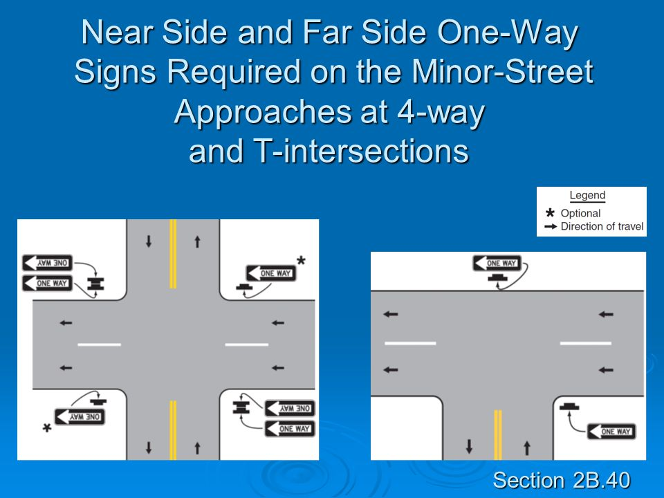 Near Side and Far Side One-Way Signs Required on the Minor-Street Approaches at 4-way and T-intersections Section 2B.40