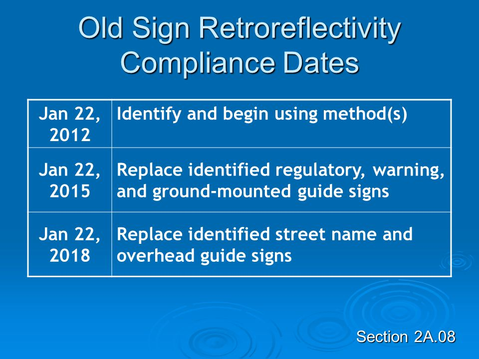 Please take note. The Effective date of the MMUTCD is December 1, 2011.