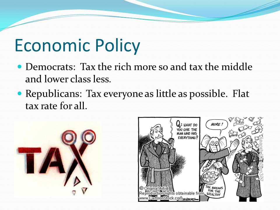 Economic Policy Democrats: Tax the rich more so and tax the middle and lower class less.