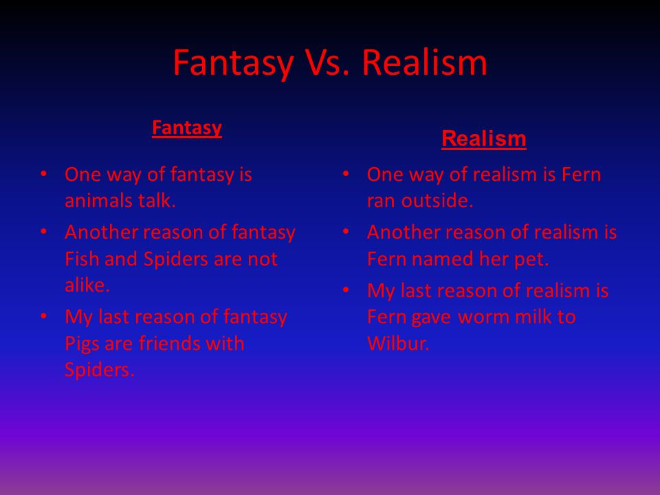 Fantasy Vs.Realism Fantasy One way of fantasy is animals talk.