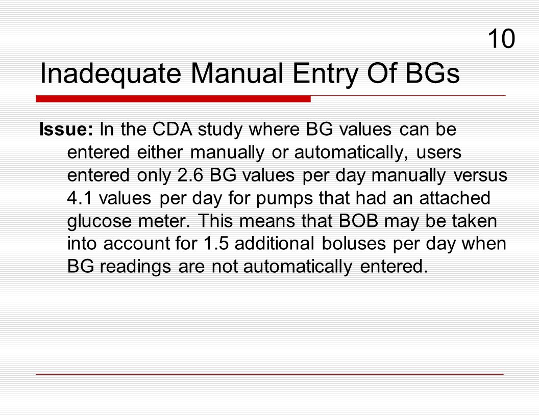 Inadequate Manual Entry Of BGs Issue: In the CDA study where BG values can be entered either manually or automatically, users entered only 2.6 BG valu