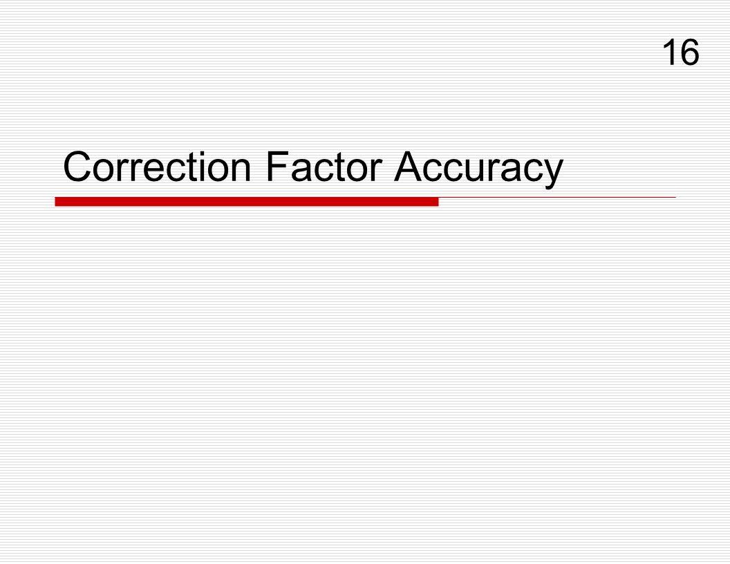 Correction Factor Accuracy 16
