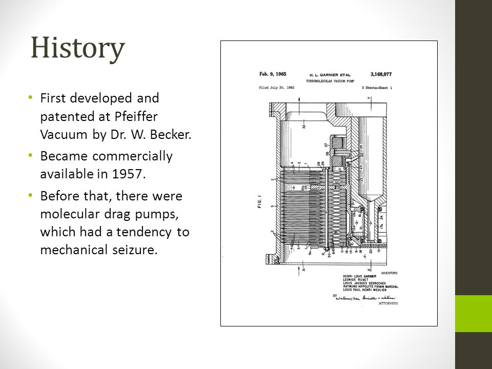 History First developed and patented at Pfeiffer Vacuum by Dr.