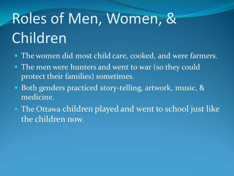 Roles of Men, Women, & Children The women did most child care, cooked, and were farmers.