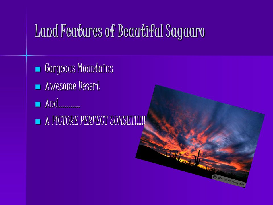 Land Features of Beautiful Saguaro Gorgeous Mountains Gorgeous Mountains Awesome Desert Awesome Desert And………..