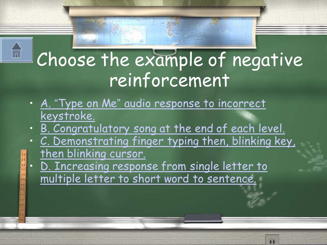Negative Reinforcement: Strengthens a behavior as a result of the removal of a negative consequence to an undesired action