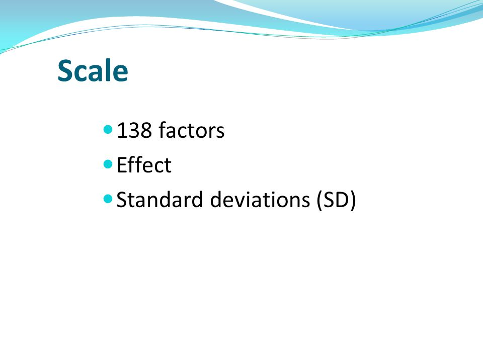 Scale 138 factors Effect Standard deviations (SD)