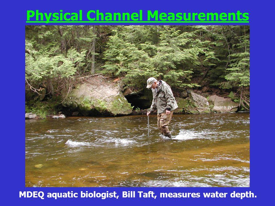 MDEQ aquatic biologist, Bill Taft, measures water depth. Physical Channel Measurements