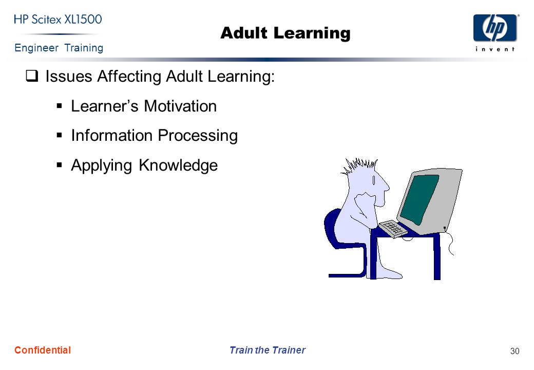 Engineer Training Train the Trainer Confidential 30 Adult Learning  Issues Affecting Adult Learning:  Learner's Motivation  Information Processing