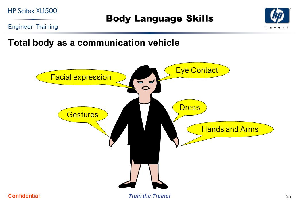 Engineer Training Train the Trainer Confidential 55 Body Language Skills Total body as a communication vehicle